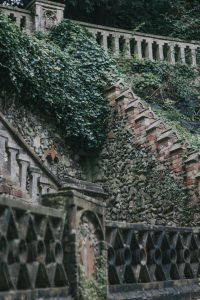 The old stone staircase at Norwich Plantation Gardens.