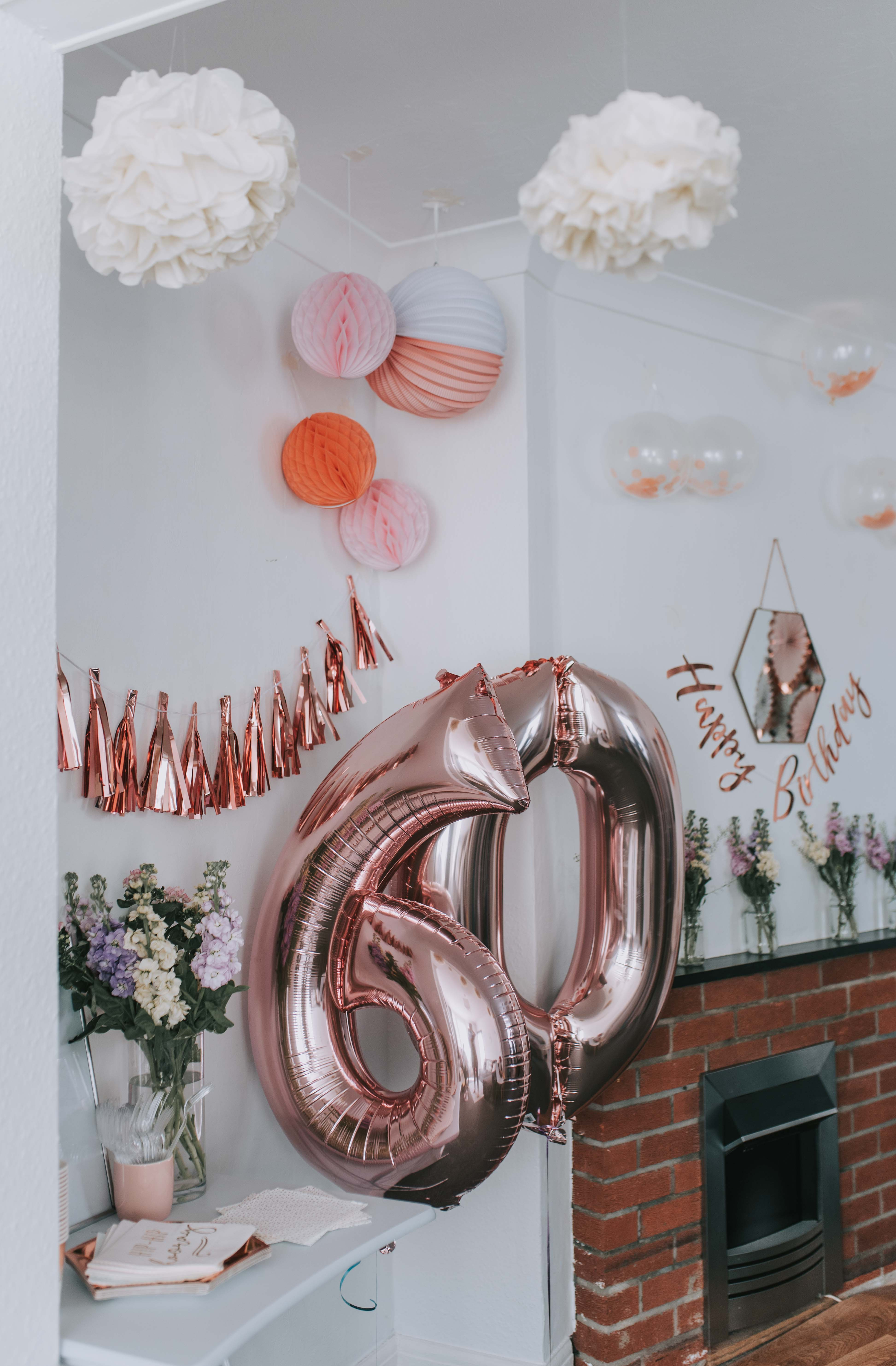 A Rose Gold Party With Candle Cake