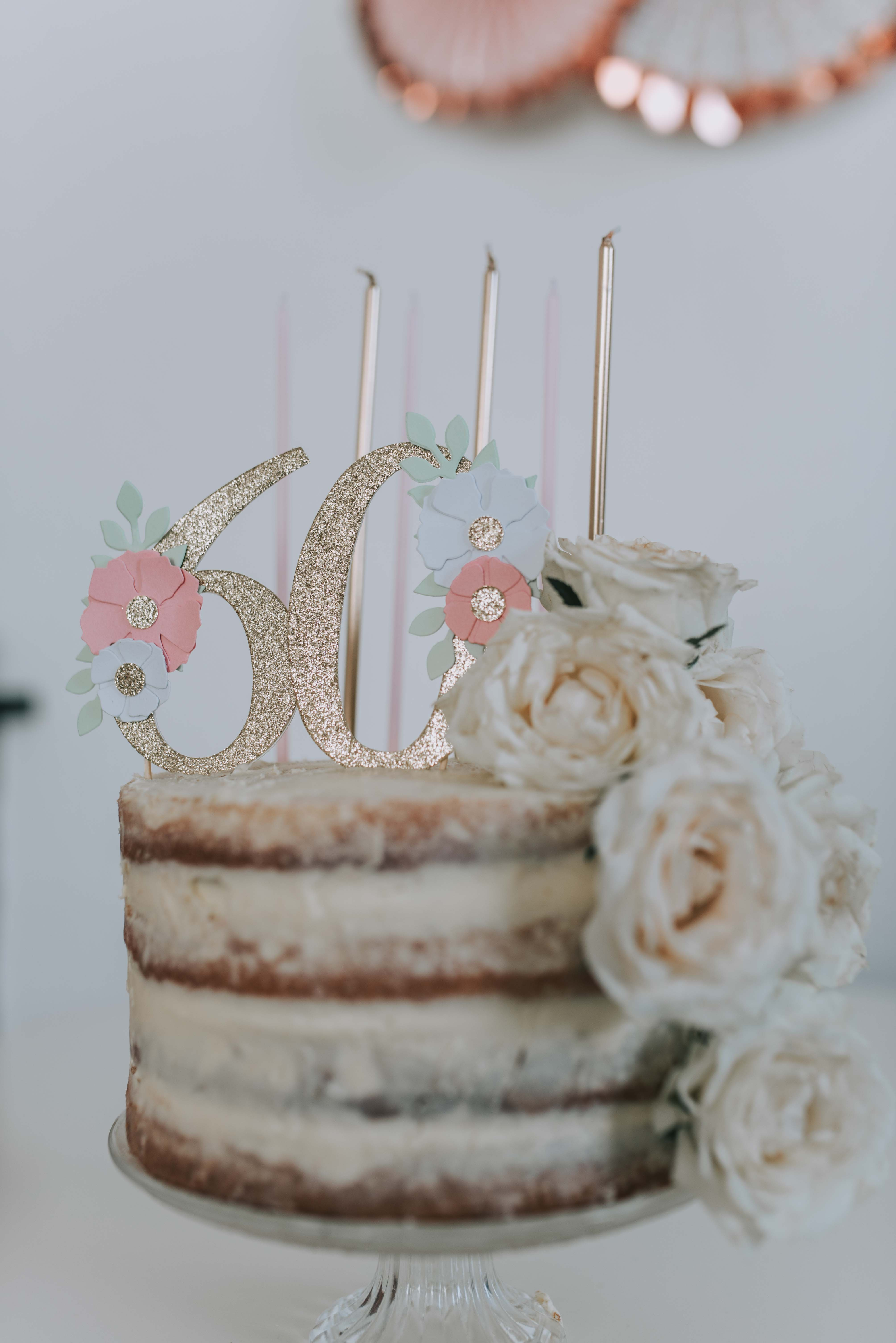 The Pink And Gold Candles Sat So Nicely On Naked Cake I Made Well It Was A Betty Crocker Mix Then Had Gorgeous 60 Topper From