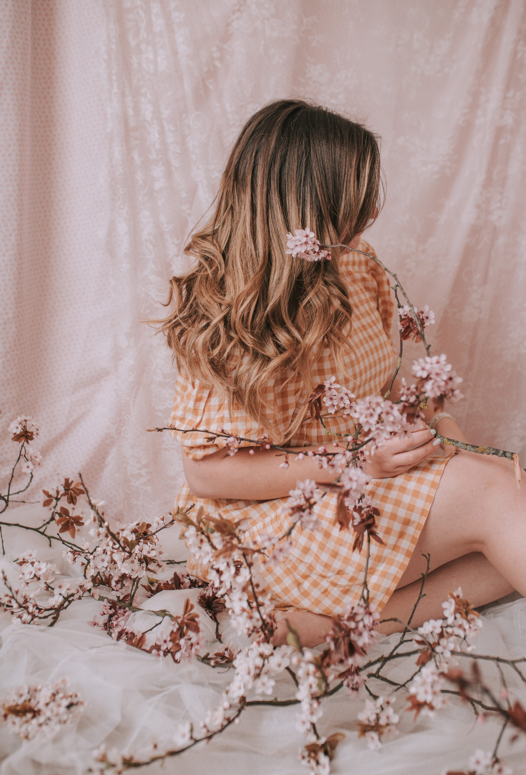 Spring Photography Blossom Bedsheet Chiffon Photoshoot At Home